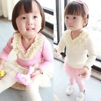 Beautiful Yarn Lovely Flower Pure Cotton Girls Long Sleeve T Shirt 0-2Year Children Tee Shirts Baby Kids Topwear For Autumn