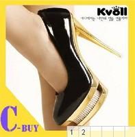Kvoll Free Shipping Sexy Patent LeatherHigh Heel Pump Shoes For Women Two Waterproof Sets Rhinestone platform Size34-41 D5601