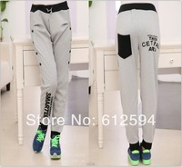 New women/lady skinny harem pants double breasted letter print color block sweatpants elastic soft slim joggings running sports