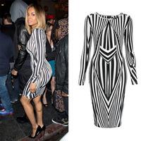Autumn Fashion New Womens Celeb Monochrome Black&White Striped Optical Illusion Sleeve Celebrity Party Bodycon Midi Dress