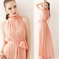 new 2014 summer Pink Maxi Chiffon Long Dresses Vestidos de fiesta Growns With Belt 4 Color