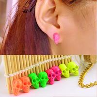 Free shipping! Punk personality paragraph HARAJUKU neon multicolour human skull stud earring earrings 1032