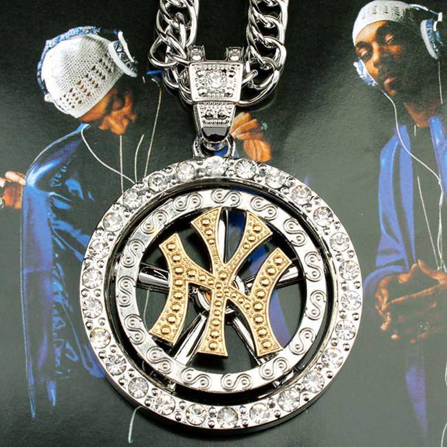Hip hop style cool ny pendentif collier avec rotation& 18k chaîne plaqué or et argent pour les hommes et les femmes vintage. forlove x239