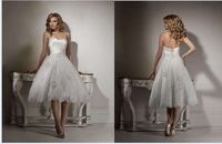 Cheap Price ! 2014 New Free Shipping A Line Beading Tea Lenght Sweetheart White / Ivory Lace Wedding Dresses OW2222 In Stock