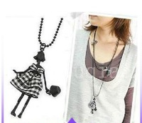 Korea fashion charm little girl bow double layer long necklace chain Dancing Sexy smart girl necklace Jewelry Accessories #N-01
