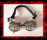 Handmade retro steampunk goggles. Barbed type, whimsy, banquet gothic goggles Unique  w/ SPIKES Gothic slive&brass
