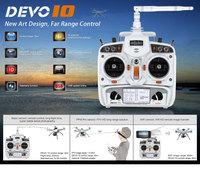 2014 Newest White Walkera DEVO 10 CH 10ch  Transmitter 2KM 2.4Ghz Telemetry Function Radio System + RX1002 Receiver