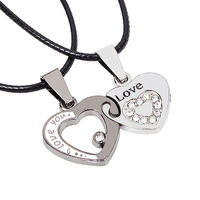 Valentine's Day jewelry love soulmate male and female crystal inlaid metal heart couple pendant necklace wholesale price