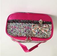 Free Shipping 2014 New 4 Colors Women Beautiful Bowknot Cosmetic Bag/Makeup Storage Bag Organizer.A106