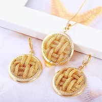 Luxury 18k Yellow Gold Filled Filigree Knitted Round Big Necklace Earrings Set Free Shipping