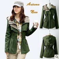 Fashion 2013 Spring Slim Waist Short Design Jackets Women's Jacket Coat Army Green Overall for Women