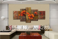 5pcs hand painted High quality Orange Orchid Flower Home Decor Painting Modern Wall Art Oil Painting Canvas Living room Picture