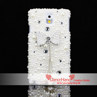 Free Shipping Items Luxury Bling Crystal 3D Pearl Butterfly Bowknot On Mixed Pearl Case For Samsung Galaxy Note 3 N9000