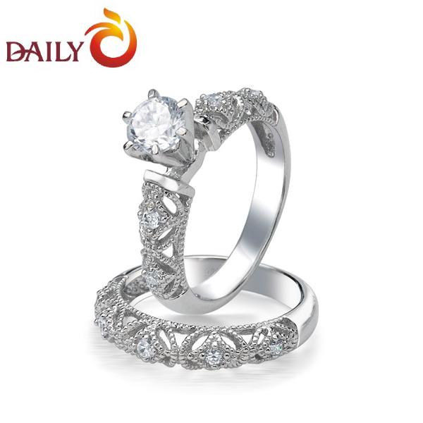 1CT Cubic Zirconia Diamond Rhodium Silver Vintage Engagement & Wedding Rings Set for Women Platinum White Ring Set Jewelry(China (Mainland))