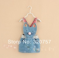Children's summer new 2014 fashion Cartoon girl  Denim Straps skirt dress 2-7Y clothing,free shipping