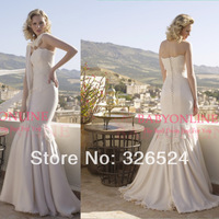 New arrival romantic srapless wedding dress mermaind lace applique chiffon bridal gown BO4919