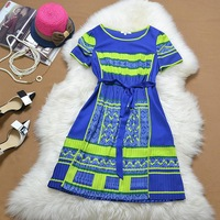 2014 summer national trend print slim waist pleated dress round short-sleeve dress