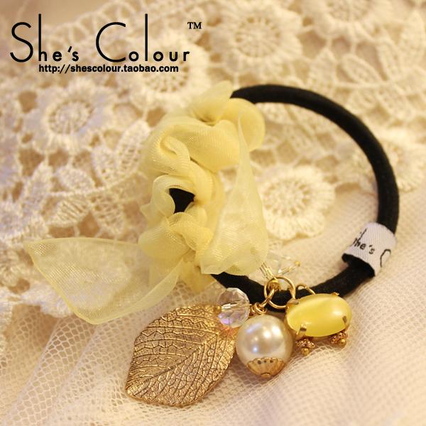 Shes colour handmade - eye hair accessory pearl hair accessory imitation crystal beads headband hair rope(China (Mainland))