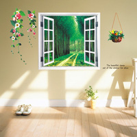 Creative 3D Sticker wall stickers  Window to draw  wood  Wall Mural bedroom vinyl wall stickers Home Decor  Removable wall decal
