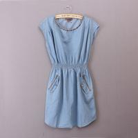 Summer women's slim denim denim one-piece dress plus size clothing