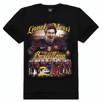 2014 Brazil Worldcup Messi T-shirts Men's cotton T-shirt 3D football star Messi image Top quality  Football fans best gifts
