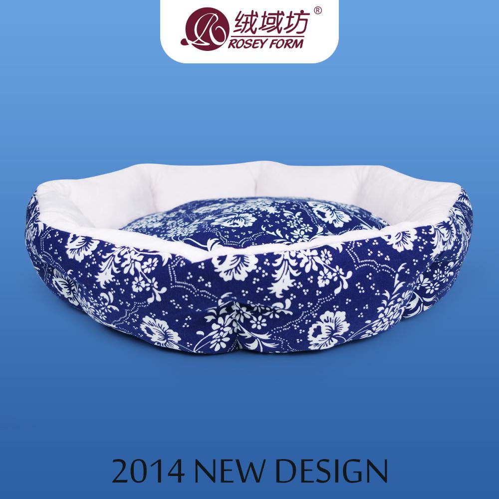 Grátis frete clássico azul e branco porcelana estilo cama do cão curto de veludo lavável teddy poodle cama pet térmica canil quente(China (Mainland))