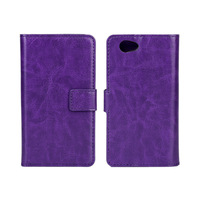Retro Crazy Horse Leather Case For Sony Xperia Compact Z1 mini with Stand  50pcs/lot + Free Shipping