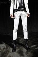 free shipping 2014 costume  casual skinny pants rivet men fashion street jeans