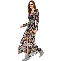 2014new Small print long sleeve length front fly breasted black soft chiffon long design summer dress 1set/lot free shipping