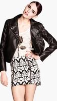 FS2486 S/M/L European Style full sleeve skulls printing Leather jacket jacket/coat