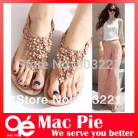 2013 bohemia sandals for women summer shoes women flip beaded flower flip-flop flat sandals