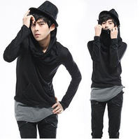 Free shopping version of the new men's T-shirt Shop agents down collar fashion tide men leave two long-sleeved T-shirt