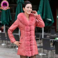 Autumn Winter Women's Genuine Real Sheepskin Leather Down Coats Fox Fur Collar Lady Slim Outerwear Plus Size  VK1320