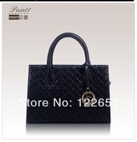 2014 new arrival fist layer cowhide leather handbag brand fashional plaid bag free shipping B-64