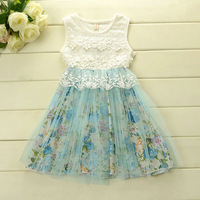 new arrival girl party dress flower print with lace cotton inside pink dress for summer free shipping