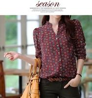 New 2014 Hot Sell Fashion Women Chiffon Blouse Retro Totem Printed Sexy Slim Stand Collar Button Shirt Women Blouse Tops