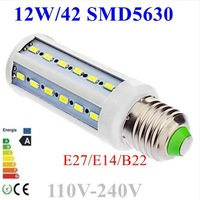 20pcs/lot Home Garden Led Corn Bulb 12W 42LED SMD5630 110V-240V White/Warm White Led bulb free shipping