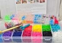 2014 Most Popular Free shipping Rainbow bracelet weaving machine suit PVC packaging 4300 rubber band 200 small colored beads