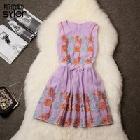 2014 spring and summer women's fashion cutout embroidery fashion elegant dress
