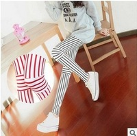SHIPPING Spring 2014 South Korea fashion personality fluorescent nine minutes of pants stripe splicing render female trousers