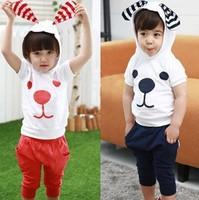 New  2014 summer Children suits 2pcs Kids fashion dog  clothing sets puppy dog suits ST001