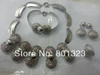 3013 New arrival ! Free shipping  white gold plated jewellery set,big jewelry set ,africa style