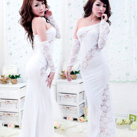 Sexy temptation set no open-crotch oblique slim hip transparent lace princess uniform