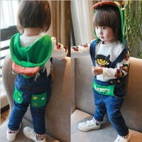 Free shipping New Baby kids baby suspender overalls girls boys long trousers jeans denim jumpsuit 0-3year