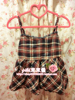 2014 plaid vintage tube top spaghetti strap doll basic shirt women's powder