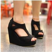 2014 women's shoes platform shoes fashion wedges hole open toe shoe high-heeled shoes sandals size 34-39
