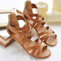 Fashion new style  female shoes bohemia cross straps flat heel gladiator plus size casual shoes flat sandals size 34-43