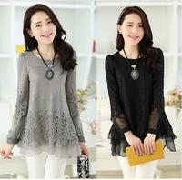 2014 Spring Autumn New Fashion Blouses Ladies Casual Long Sleeve Black Gray Beige Lace Chiffon Blouse Shirt For Women M L XL XXL