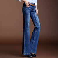 2014 spring bell-bottom jeans female denim trousers mid waist long boot cut trousers