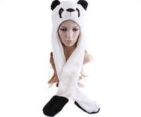 Panda Animal Hat Fluffy Plush Warm Cap/Beanie Earmuff Scarf Cartoon Animal Hat with Gloves EW-H-AP-014